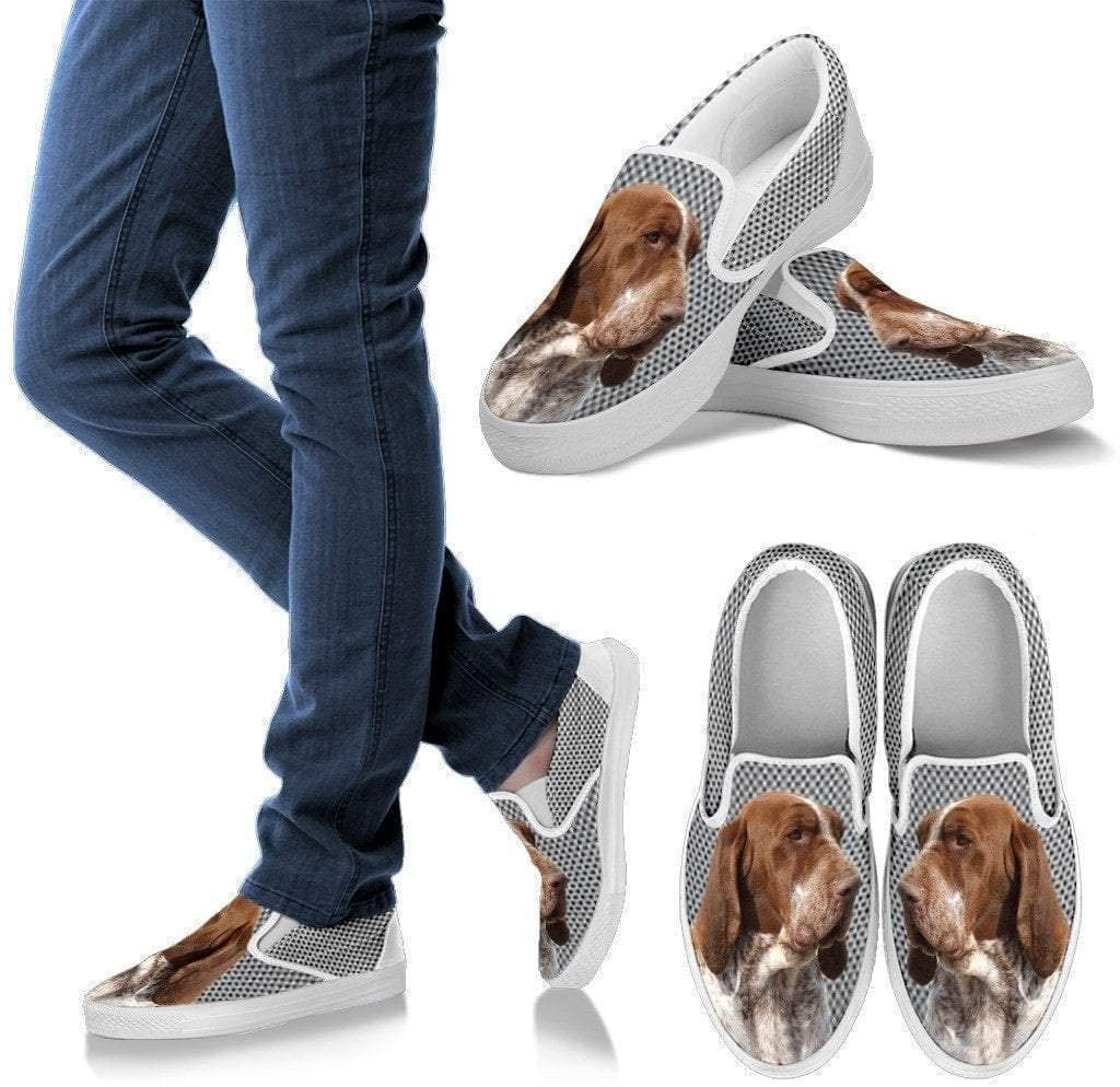 Paws With Attitude Bracco Italiano Dog Print Slip Ons for Women-Express Shipping