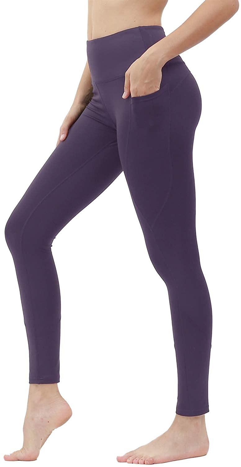 High Waist Yoga Leggings for Women with Pockets Workout Running Pants M Dark Purple