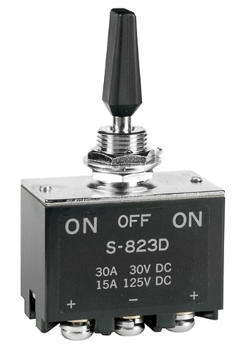 S823D, Switch Toggle ON Off ON DPDT Flat Lever Screw Lug 30A 250VDC Panel Mount with Threads