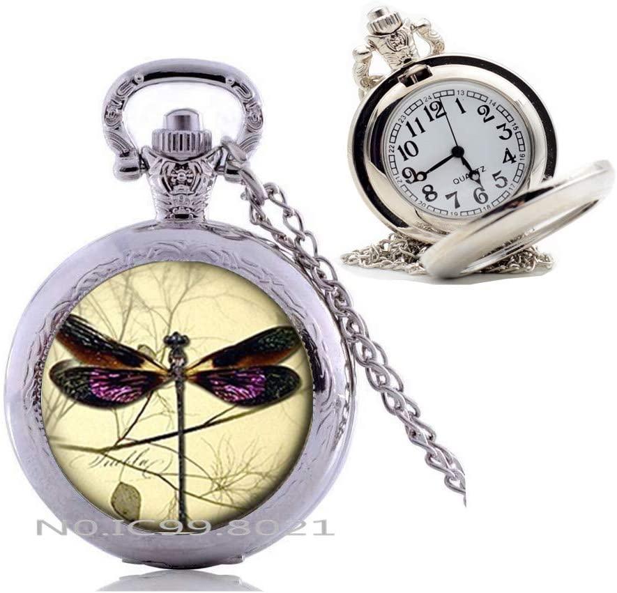 maoqunza Dragonfly Pocket Watch Necklace, Dragonfly Jewelry,Insect Pocket Watch Necklace, Insect Jewelry, Dragonfly Charm Pocket Watch Necklace, Dainty Pocket Watch Necklace -RG390