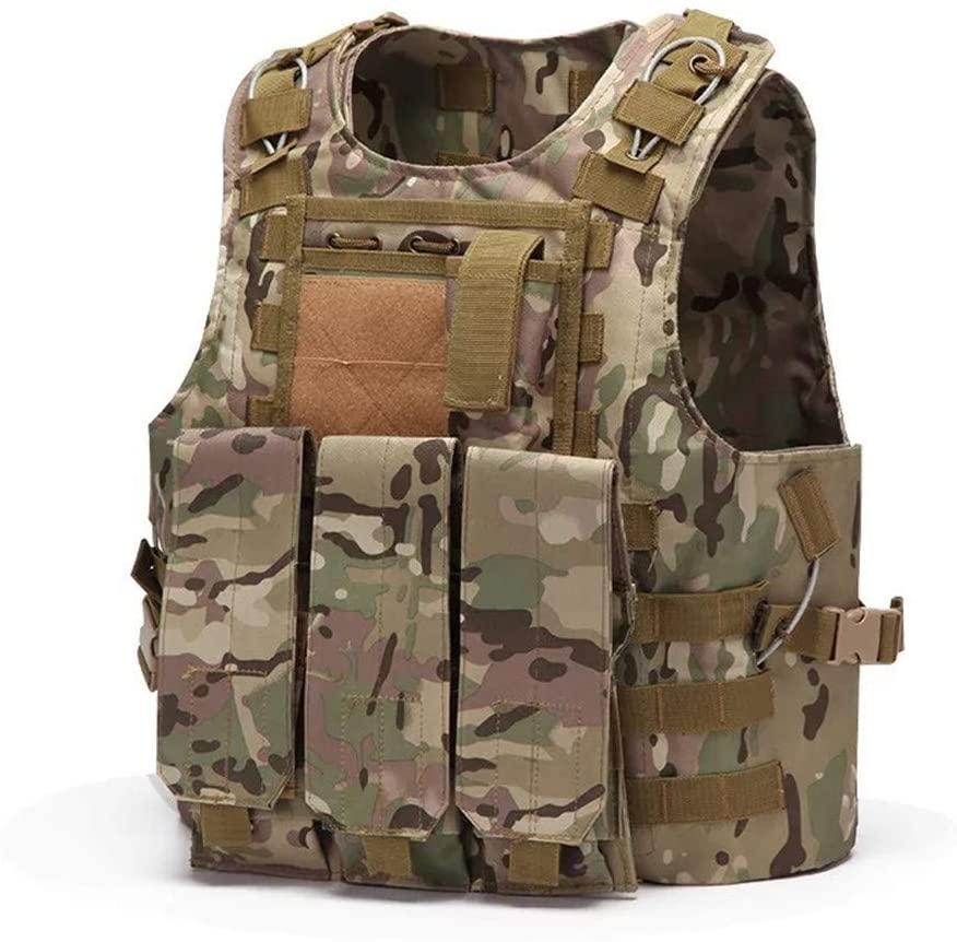 NOBUNO Tactical Vest, Multifunctional Sling Strap Tactical Combat Vest Super Wear-Resistant Field Outdoor Equipment Protective Clothing CS Combination Vest Amphibious Vest Camouflage,3