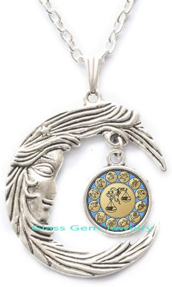 Charming Libra Pendant Zodiac Libra Necklace Astrology Horoscope Jewelry September October Birthday Wholesale,Q0276