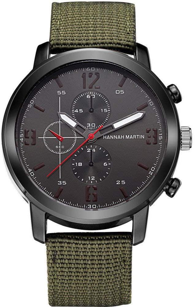 Hannah Martin Fashion Brown Black Leather Strap Big Dial Quartz Sport Watches for Men Online