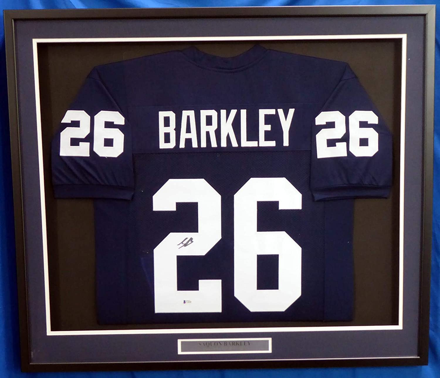 Autographed Saquon Barkley Jersey - Framed Blue Beckett BAS Stock #177407 - Beckett Authentication - Autographed College Jerseys