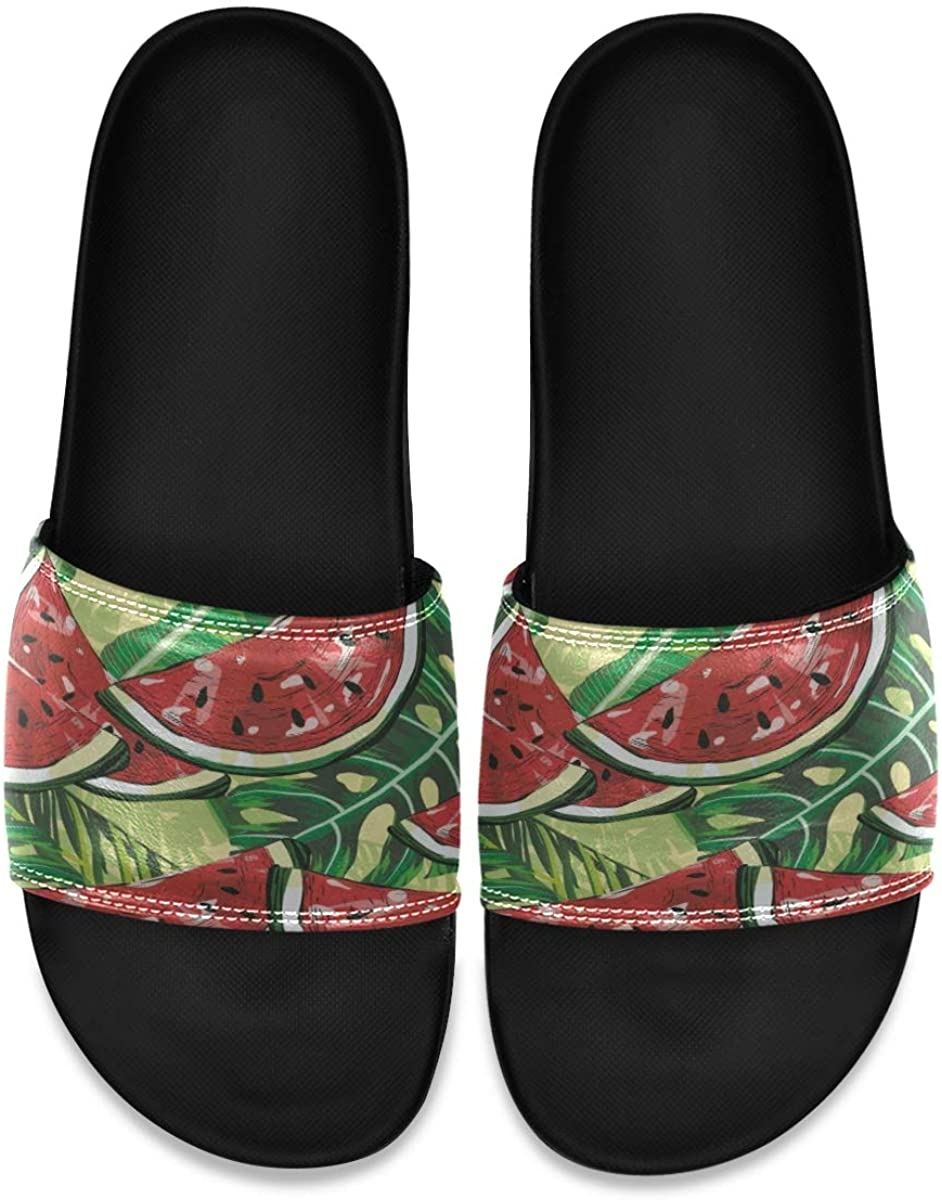 SLHFPX Watermelons Tropical Leaf Mens Leather Slide Sandals Summer House Slippers Slip On Boys