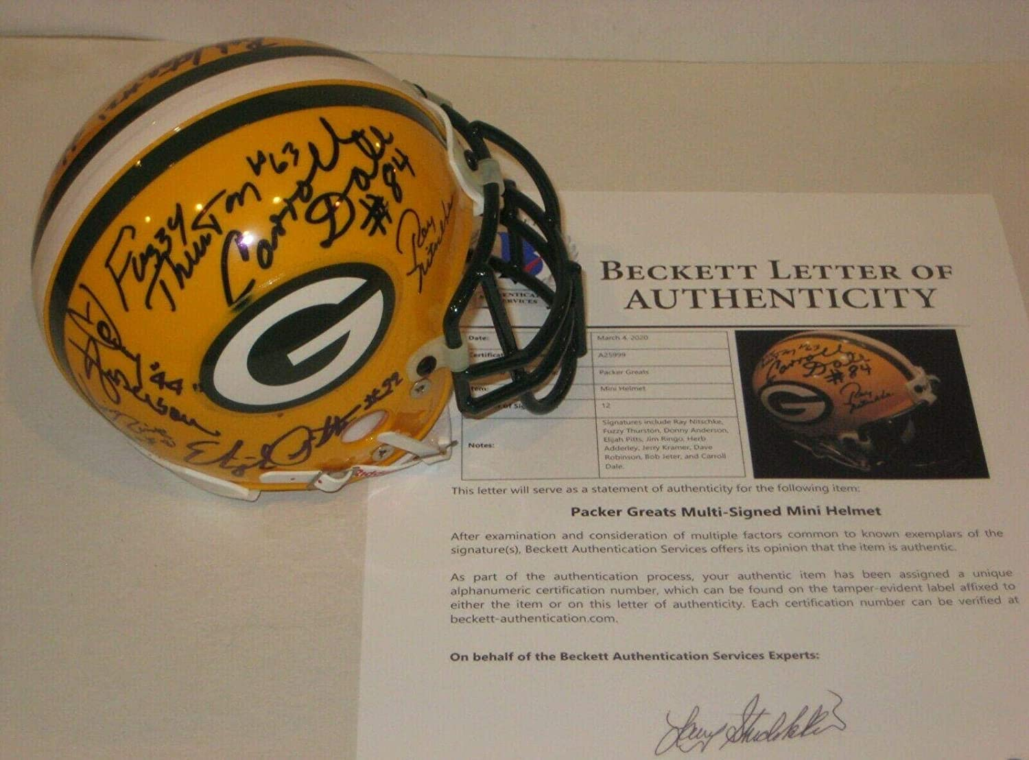 NITSCHKE, THURSTON & 10 Other Greats Signed PACKERS Mini-helmet w/Beckett LOA - Beckett Authentication
