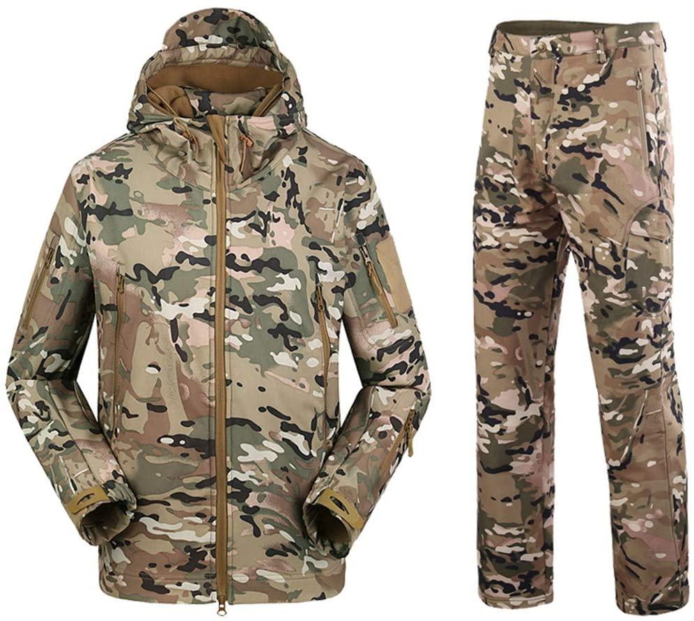 EWRCSSWA Military Camouflage Shark Skin Soft Shell Tactical Suits Men Winter Autumn Waterproof Fleece Combat Gear Suit