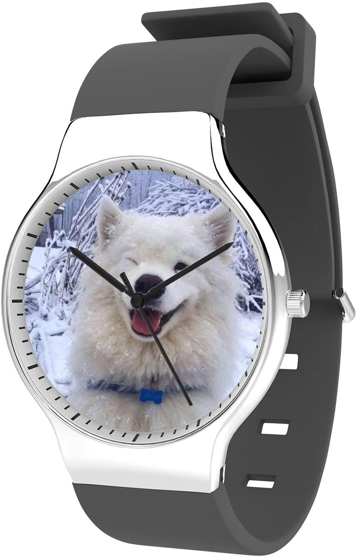 Modern Unisex Wrist Watch, Minimalist Fashion Waterproof Watches Simple Silicone Band Dress Watches for Business Men (Samoyed)