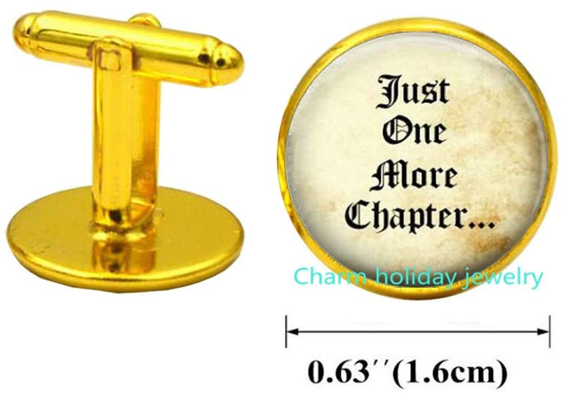 Just One More Chapter Cufflinks,Bibliophile Book Lovers Cuff Links,Gifts for Readers and Writers,Bookish Jewelry-#41
