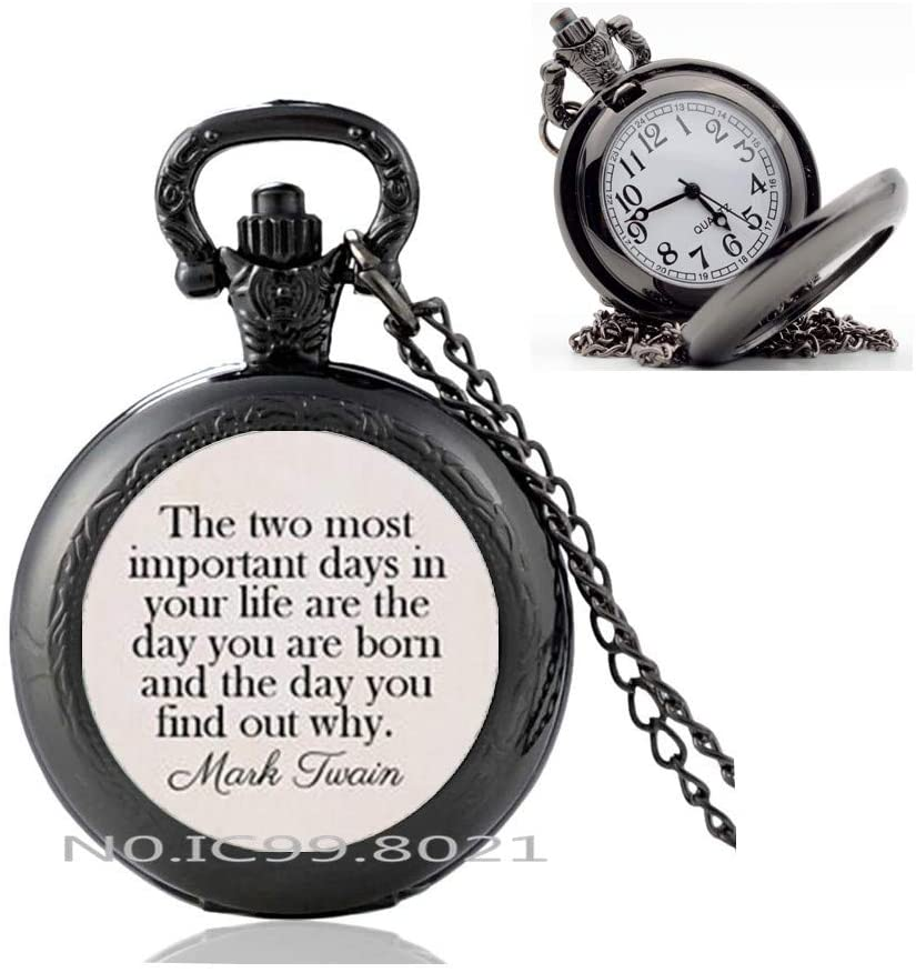 maoqunza Quote Most Important Days of Your Life Glass Dome Pendant Pocket Watch Necklace Inspirational Jewelry -RG233