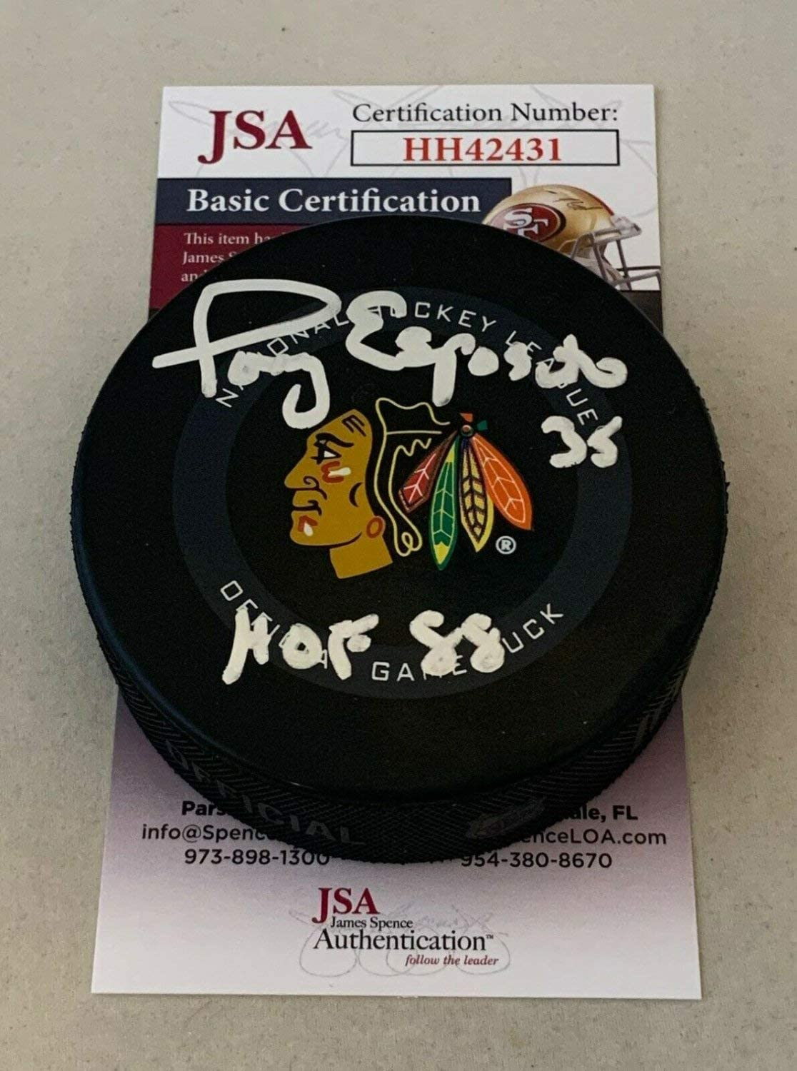 Tony Espositio Autographed Signed Chicago Blackhawks Official Game Puck Autographed Hawks JSA