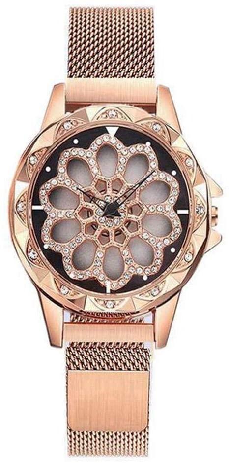 Sbmxj Fashion Temperament Watch Luxury Diamond Rotatable Dial Women's Watch Magnet Buckle Quartz Wrist Water-Proof Watch