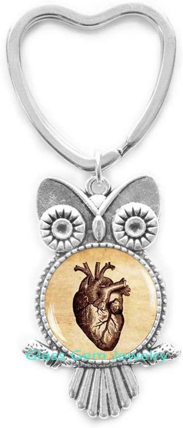 Anatomical Heart Key Ring, Anatomical Heart Owl Keychain, Anatomical Heart Jewelry, Glass Dome Owl Keychain, Charming Heart Owl Keychain, Men's Owl Keychain,Q0080