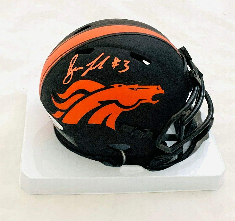 DREW LOCK AUTOGRAPHED SIGNED BRONCOS ECLIPSE MINI HELMET w/COA #WPP906215 - JSA Certified - Autographed College Mini Helmets