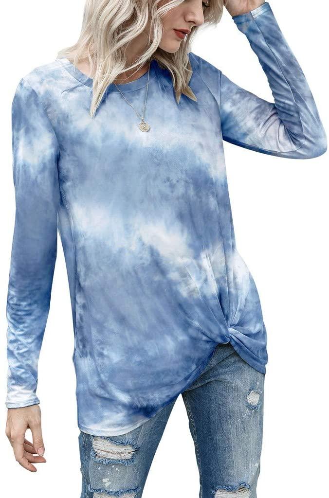 Sengei Women Tie-Dye Long Sleeve Knot Sweatshirt T-Shirt Casual Crewneck Loose Pullover Tops Shirts
