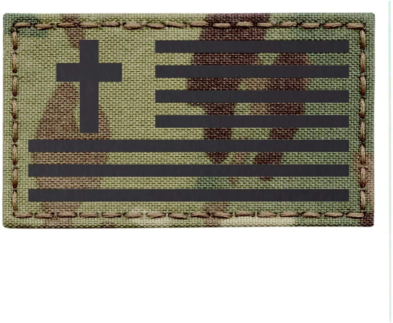 IR Multicam OCP 2x3.5 USA Flag Christian Cross Jesus Christ Crucifix Religion God Infrared Tactical Morale Hook&Loop Patch