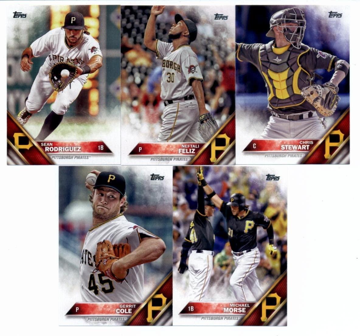2016 Topps Series 2 Baseball Pittsburgh Pirates Team Set of 11 Cards: Jeff Locke(#361), Michael Morse(#384), Gregory Polanco(#428), Gerrit Cole(#452), Elias Diaz(#504), Tony Watson(#510), Jordy Mercer(#527), Sean Rodriguez(#558), Chris Stewart(#586), Neftali Feliz(#587), Jared Hughes(#665) in Protective Snap Case