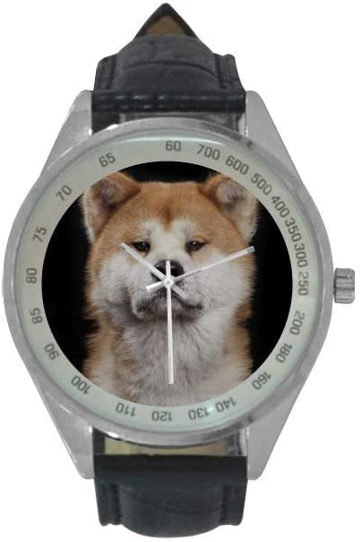 QUICKMUGS2U Mysterious Animal Series Shiba Inu Men's Leather Strap Analog Quartz Watch Wrist Business Casual Watch for Men
