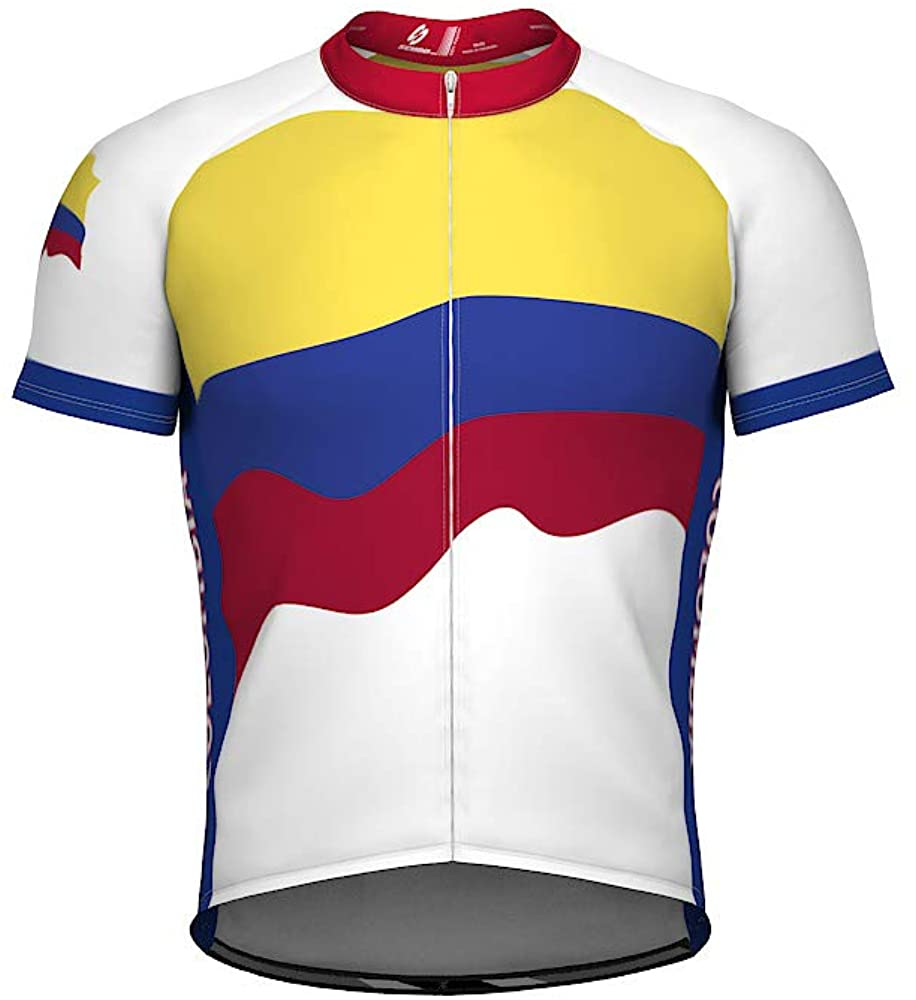ScudoPro Colombia Emblem Full Zipper Bike Short Sleeve Cycling Jersey for Men