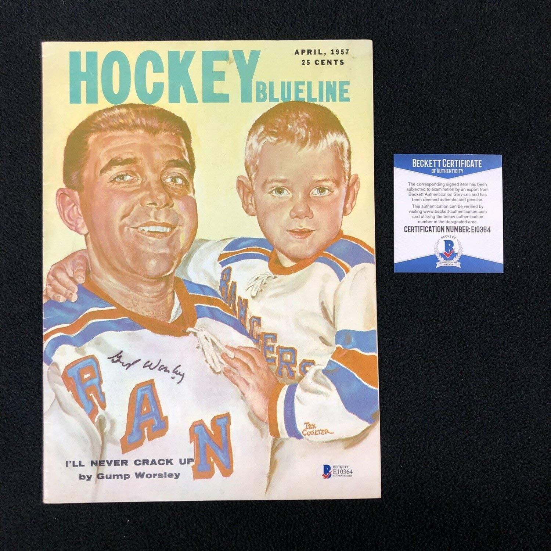 Authentic Autographed Gump Worsley New York Rangers Hockey Blueline 1957 Magazine Beckett COA