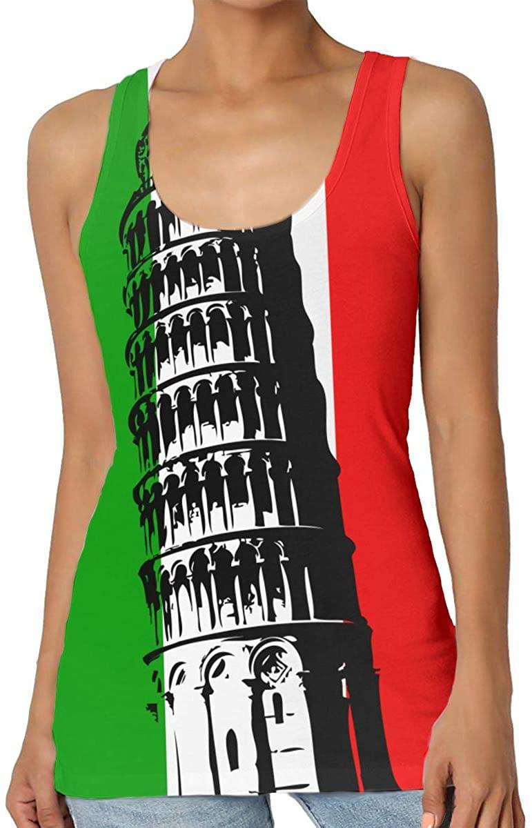 Women's Tank Top Italy Pisa Tower 3D Printed Sleeveless Racerback Vest Shirts