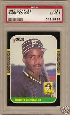 1987 Donrus Barry Bonds Rookie PSA 9 50-50 Centering