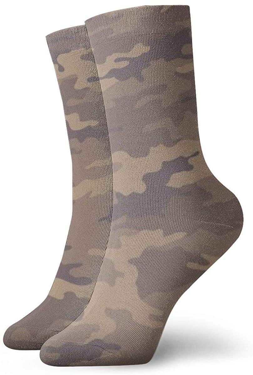 Camouflage Khaki Texture Cute Novelty Athletic Socks Hiking Walking Socks Outdoor Recreation Socks Wicking Cushion Crew Socks Mid Calf Design All season