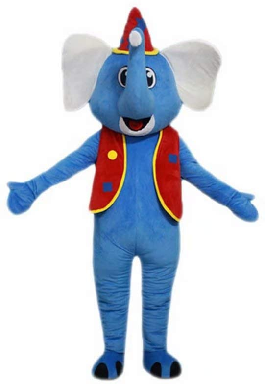 Blue Elephant Cartoon Costume Mascot Plush with Mask for Adult Cosplay Party Halloween Dress Up