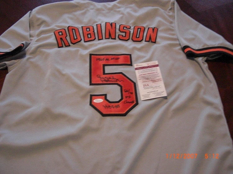 Brooks Robinson Autographed Jersey - hof 83 66 70 Ws Champ 64 Almvp coa - JSA Certified - Autographed MLB Jerseys