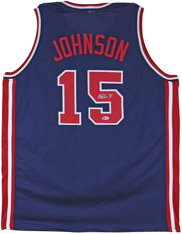 Magic Johnson Autographed Jersey - Team USA Blue BAS Witnessed - Beckett Authentication - Autographed NBA Jerseys