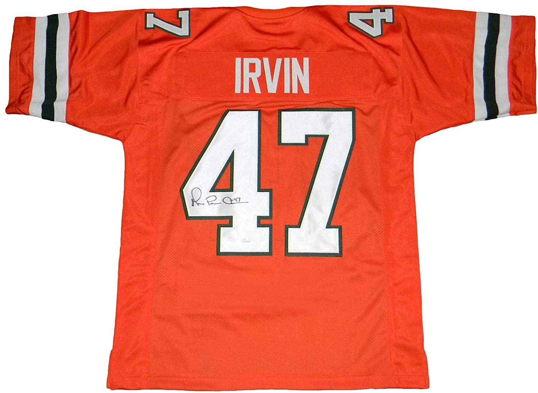 Autographed Michael Irvin Jersey - #47 Orange Throwback - JSA Certified - Autographed College Jerseys