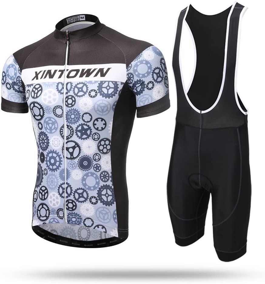 Xintow Men Cycling Jersey Short Sleeve Bike Bicycle Clothing Racing Cycle Jacket Shirt Grey3