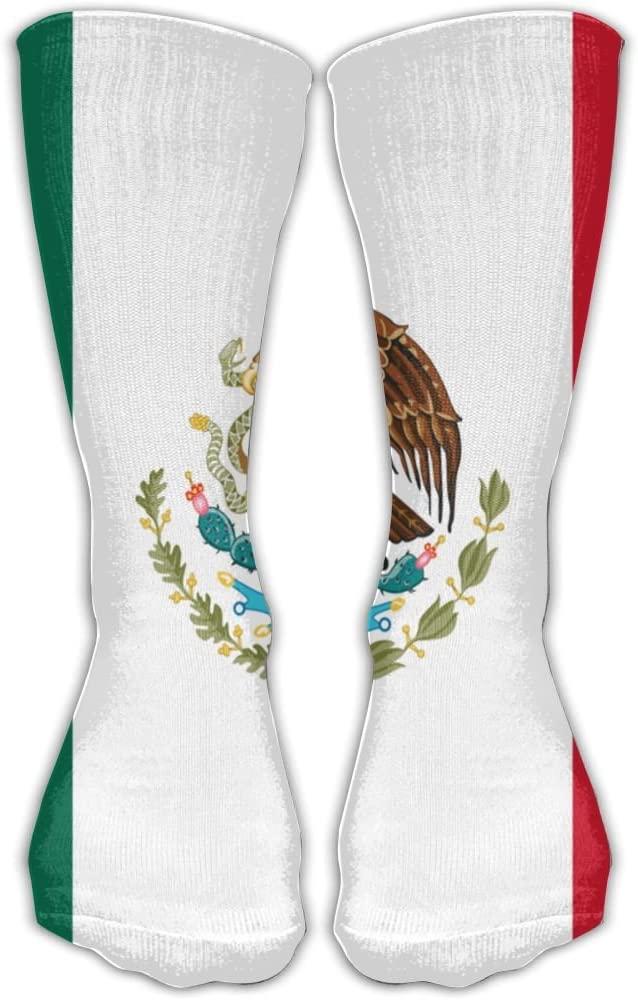 Pin-1 Mexican Flag Athletic Socks Novelty Running Long Sock Cotton Socks