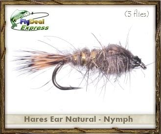 Fly Fishing Flies - Hares Ear Natural Nymph - Nymph (3-Pack)