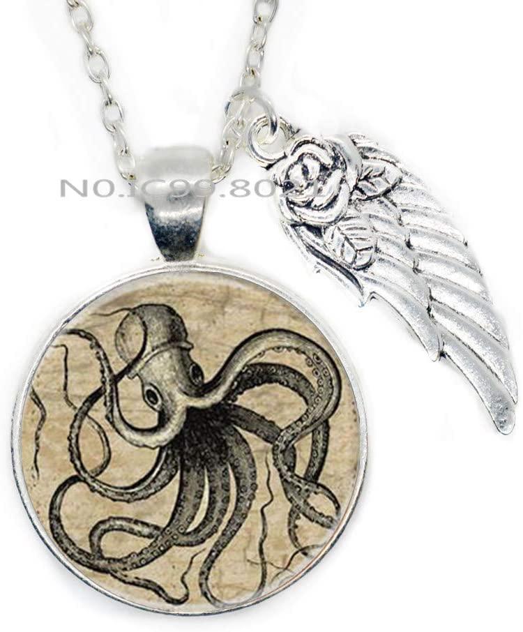 maoqunza Octopus Necklace, Octopus Charm, Ocean Necklace,Animal Necklace, Animal Jewelry -RG63