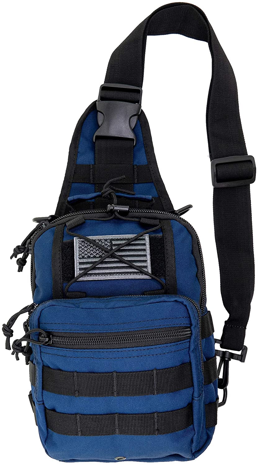 LINE2design First Aid Sling Backpack - EMS Equipment Emergency Medical Supplies Tactical Range Shoulder Molle Bag - Heavy Duty Sports Outdoor Rescue Pack - Perfect for Camping Hiking Trekking - Navy