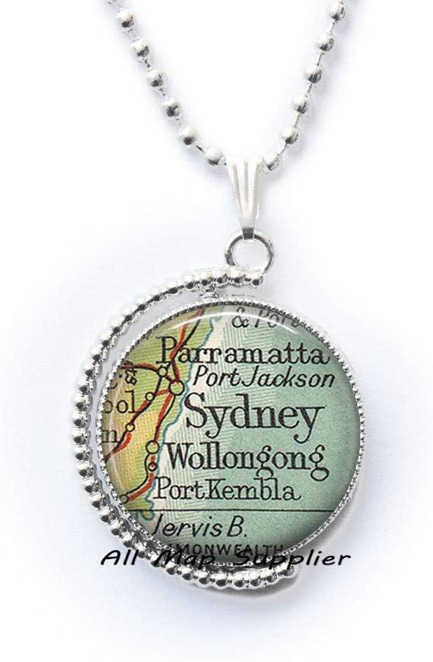 AllMapsupplier Fashion Necklace,Sydney,Australia map Necklace,Sydney Necklace,Sydney map Necklace,Sydney map Pendant,A0233