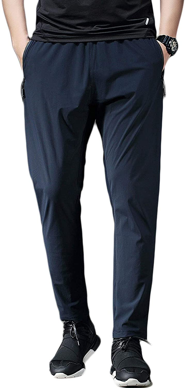 Flygo Mens Lightweight Quick Dry Pants Outdoor Running Breathable Trousers