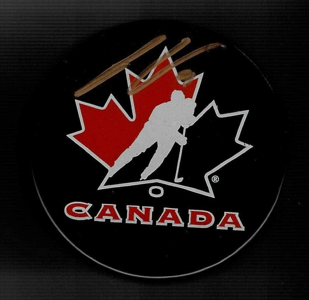 Joe Veleno Signed Hockey Puck - Team Canada - Autographed NHL Pucks