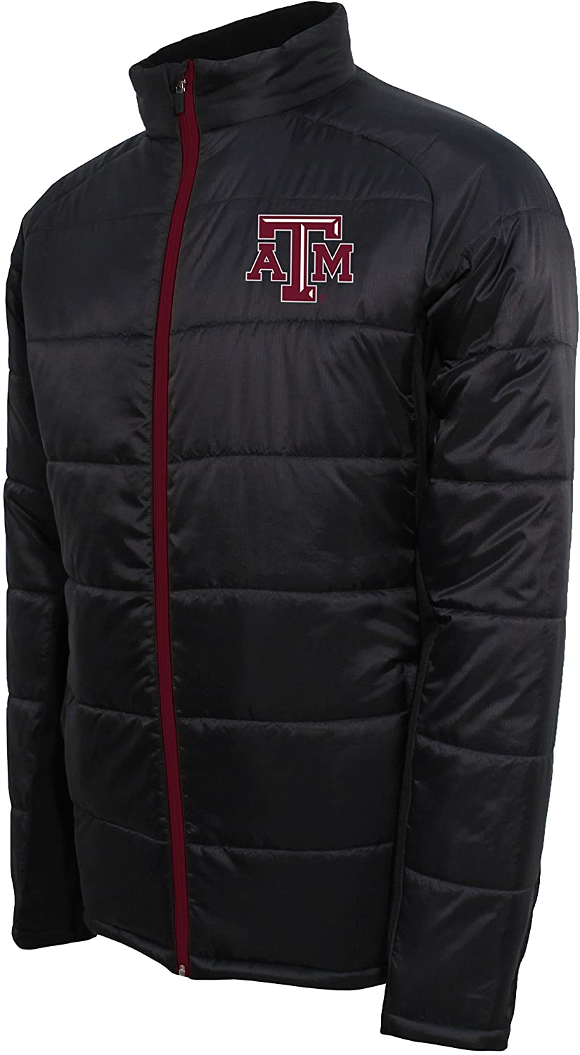 Crable Adult Men NCAA Campus Specialties Full Zip Quilted Puffer Jacket, Carbon/Maroon, XX-Large