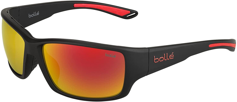 Bolle Kayman Sunglasses, Matte Black & Red Orange