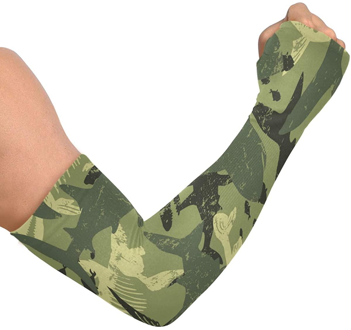Cooling Arm Sleeves Anti-Slip Camouflage Shark Arm Cover Sleeves for Baseball Basketball Football Running
