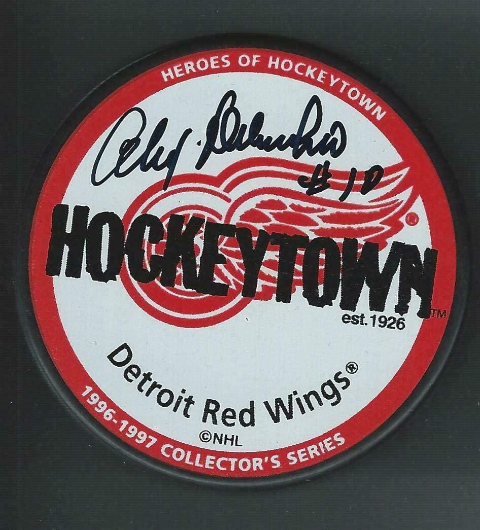 Alex Delvecchio Signed Puck - Hockeytown - Autographed NHL Pucks