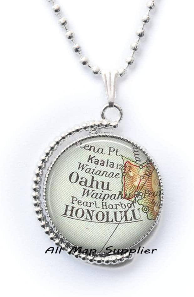 AllMapsupplier Fashion Necklace,Honolulu map Pendant,Honolulu map Necklace Honolulu Necklace Honolulu Pendant,A0239