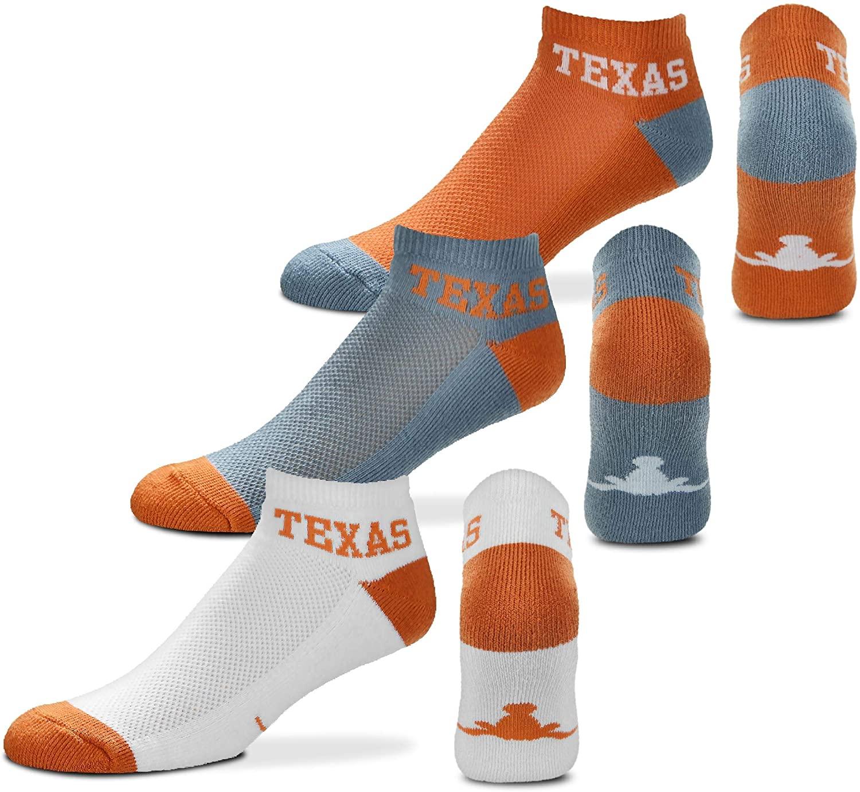 For Bare Feet NCAA Mens Money Ankle Socks-3 Pack-Texas Longhorns-Large (10-13)