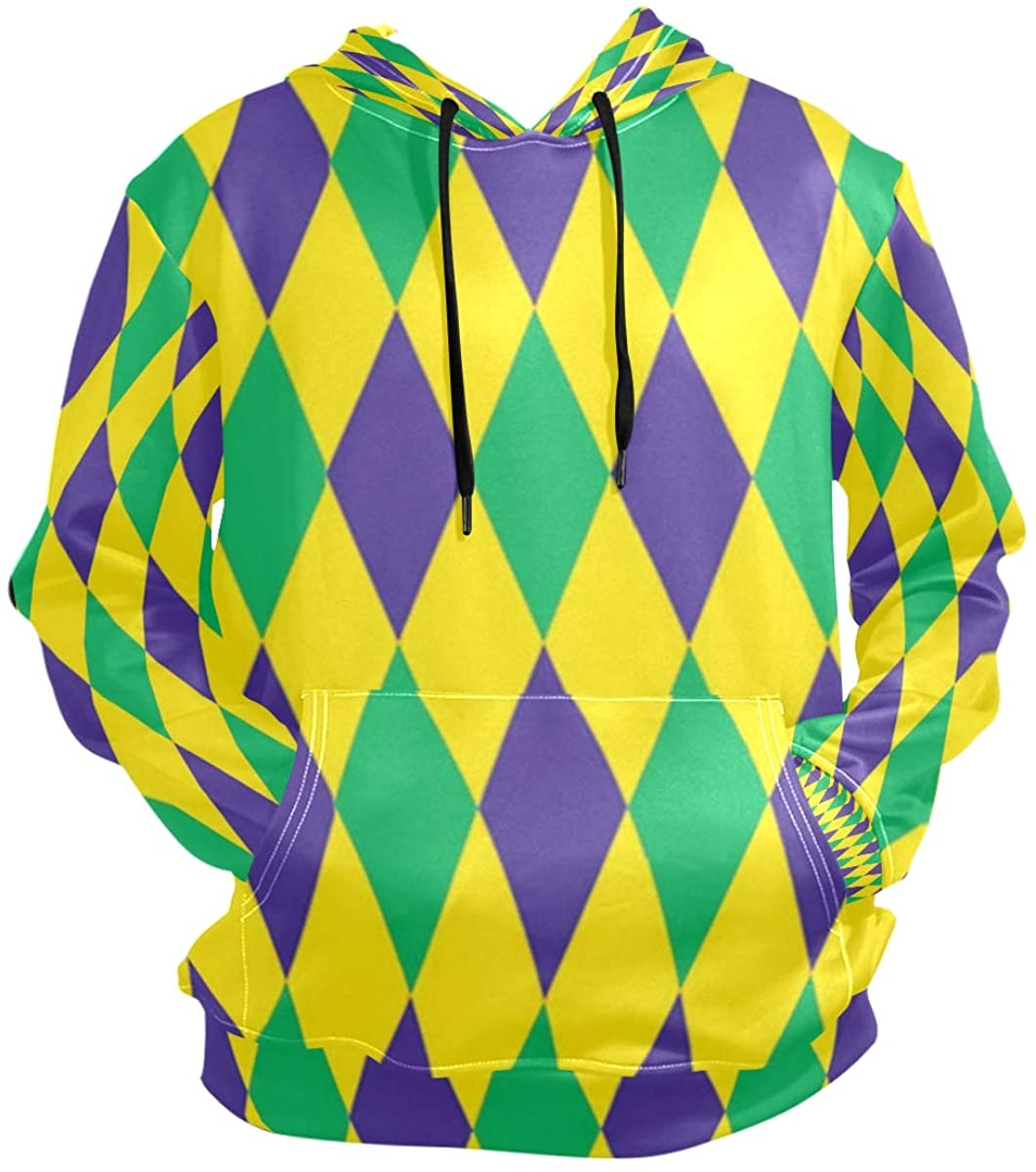 Men's Front Pocket Pullover Hoodie Sweatshirt Mardi Gras Harlequin Diamond