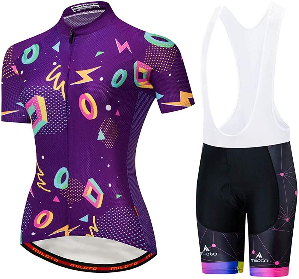MILOTO Cycling Jerseys Team Bike Shirts Women Biking Tights Clothing Bicycle Short Sleeve Sets