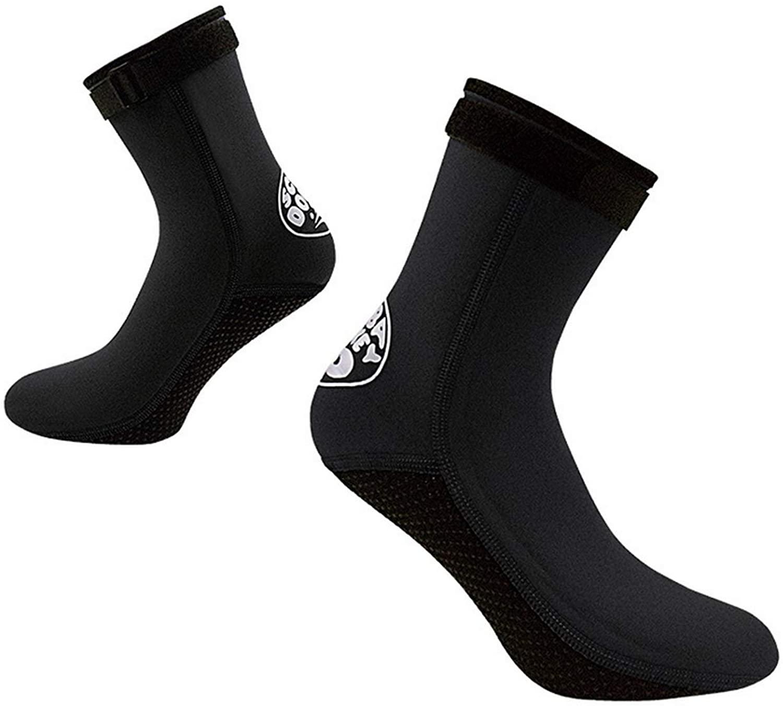 Bestgift Mens 3mm Flexible Anti Slip Warm Diving Wetsuits Water Fin Sock Black 1 L