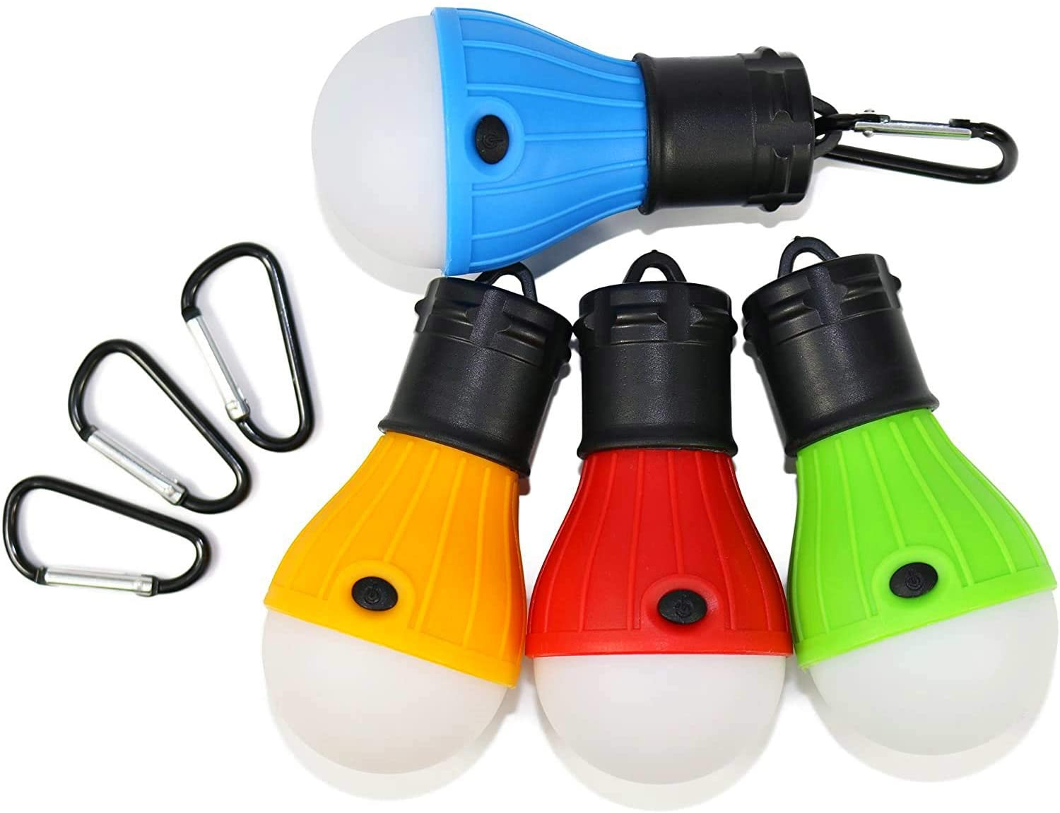 Green Olives 4-pack Outdoor Camping Lamp LED Portable Outdoor Tent Light Bulb with Clip Hook Emergency Light Battery Operated Powered Waterproof Portable Bulb for Camping Fishing Picnic Hiking