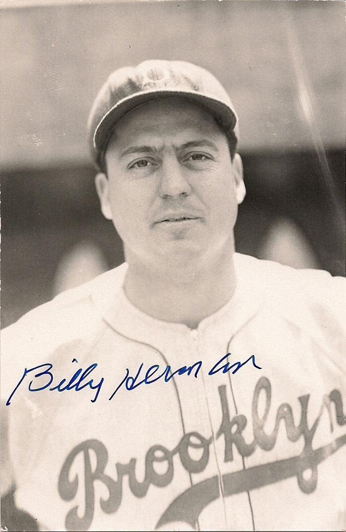 Autographed BILLY HERMAN BW Rowe Post Card - MLB Cut Signatures